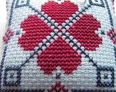A lovely little pincushion Folk Hearts .. Cross stitched .. Mothers day gift