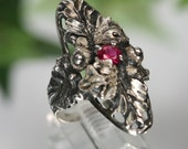 Vintage Sterling and Ruby Ring