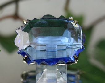 Brooch-Vintage Large Blue Cut Crystal Brooch