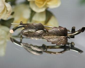 Victorian Gold Filled Leaf Brooch