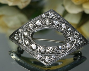 Brooch- Art Deco Style Silvertone and Rhinestone Brooch
