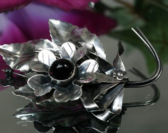 Brooch- Vintage Sterling Floral Brooch