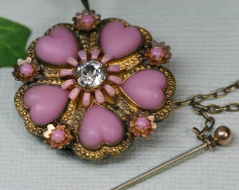Brooch: Antique Goldtone and Pink Glass Flower Brooch