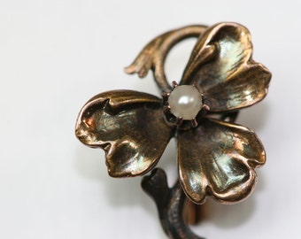 Stick Pin- Vintage 14k and Pearl  Clover Stick Pin