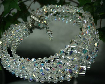 Vintage Cut Crystal AB 4 Strand Necklace
