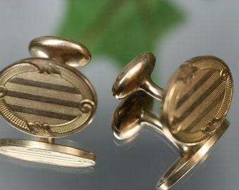 Cufflinks- Vintage GF Bean Back Cufflinks- Krementz