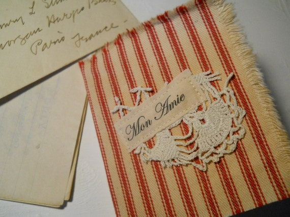 Dianne's Reserve Listing French Inspired Red Ticking Mini Journal Mon Amie