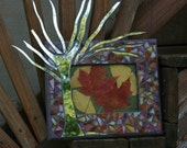 Candy Corn Sunset Mosaic and Mirrored Tree 5x7 Picture Frame with Pressed Leaves
