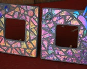 Pink and Purple Iridized Glass Mosaic Mirrors with Hummingbirds