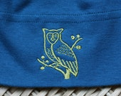 Galaxy Blue Organic Cotton Baby Hat with Woodland Owl Embroidery -  American Apparel