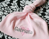 Pink and Grey Personalized  Baby Knot Hat - American Apparel - Heart Embroidery