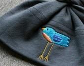 READY TO SHIP - Baby Knot Hat - American Apparel Asphalt Grey with Tweet Bird