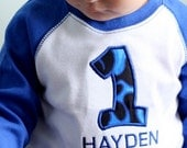 1st Birthday Blue Flames Raglan Shirt - You choose the SIZE and NAME
