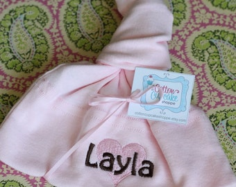 Girls Pink Personalized Baby Knot Hat - American Apparel - Embroidered Heart with Chocolate Brown Name