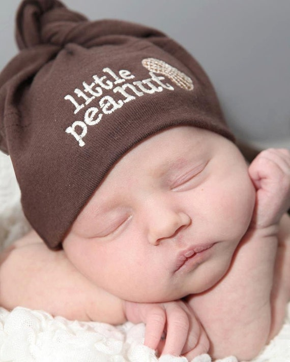 Little Peanut Baby Knot Hat - Chocolate Brown American Apparel