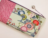 Shibori & Chrysanthemum Clutch Bag Made From Vintage Kimono - Purple