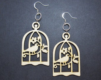 SALE - Bird In A Cage Earrings - Natural Wood