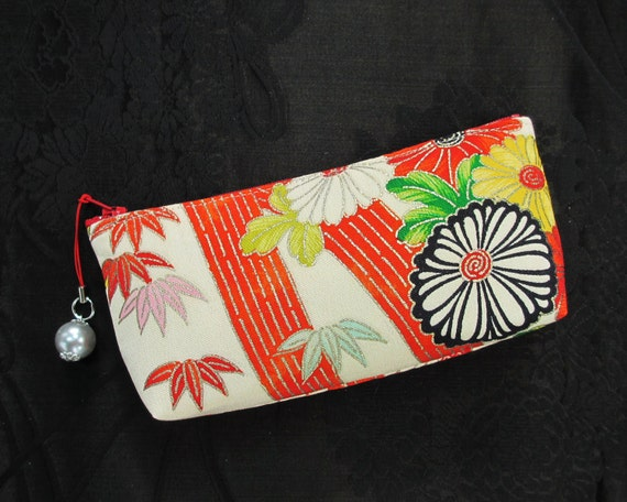 Bamboo and Chrysanthemum Zipper Pouch Made From Vintage Girls Kimono