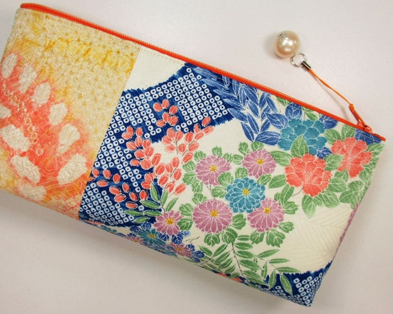 Shibori & Japanese Flower Clutch Bag Made From Vintage Kimono