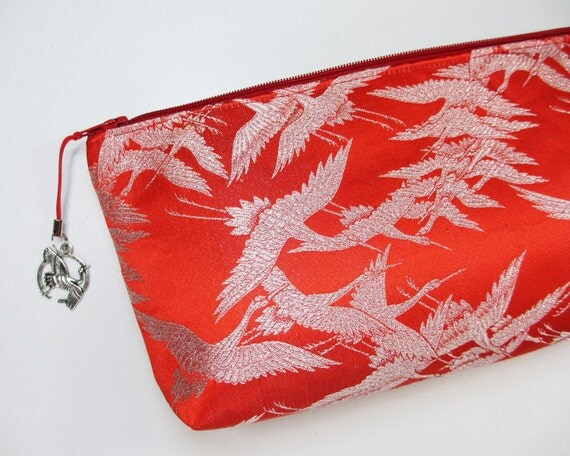 Reserved for Joy/ One Thousand Cranes Clutch Bag Made From Uchikake Wedding Kimono