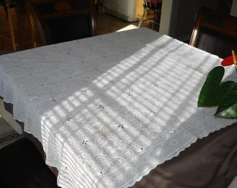 Handmade Crochet tablecloth -Doily Runner, Crochet Tablecloth Rectangle, White Crochet Lace Bedroom Curtain, Unique Crochet Item