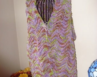Cabbage Flower Handmade Knit CHENILLE Stole/Shawl/Shrug-Ready to be shipped TODAY