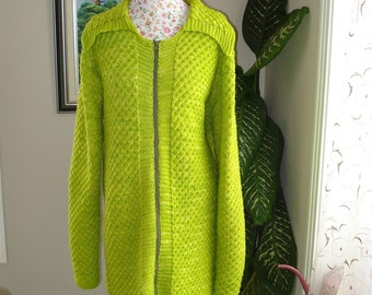 Handmade Knit Malabrigo Kettle Dyed Pure Merino Wool Sour Apple Green Plus size Coat, Cardigan/ size XL - 2L- Free Shipping - Ready to ship