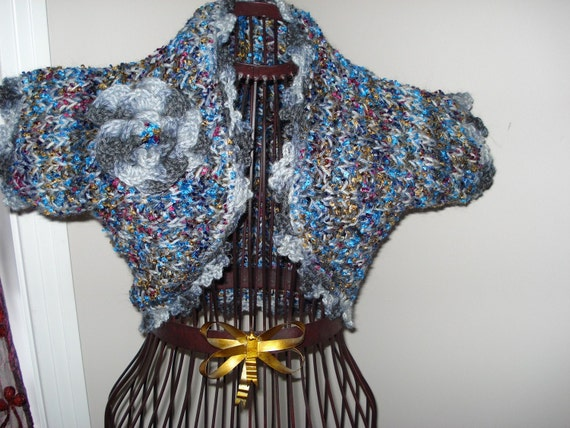 SALE 50% OFF /Ready to ship /GORGEOUS Hand Knitted and Crochet Heavenly Shrug /will fit size X Small to Small