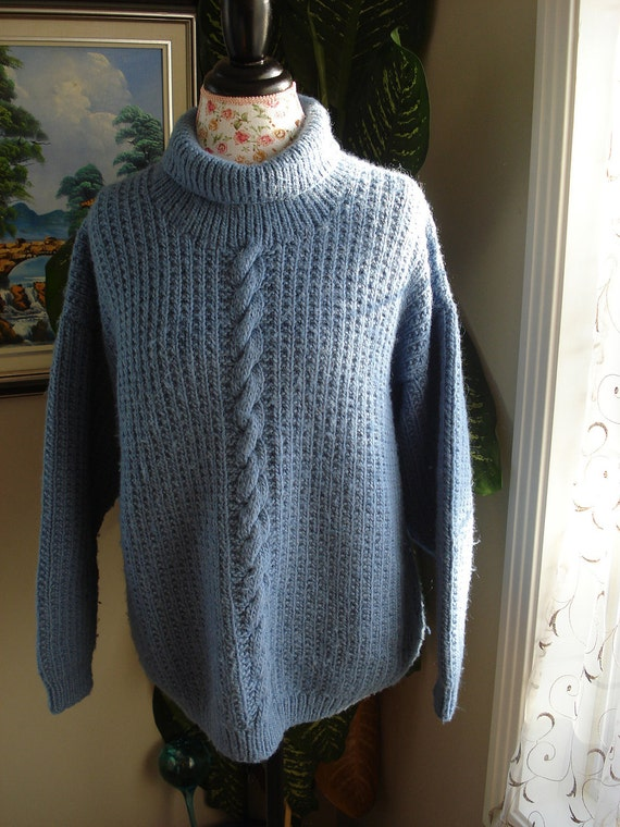 CLEARANCE/SALE/Ready to ship /Gorgeous Hand Knitted-HANDMADE Large Blue sweater for women or men/unisex