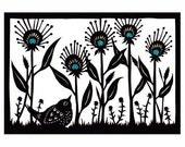 Summer Garden - 5 x 7 inch Cut Paper Art Print