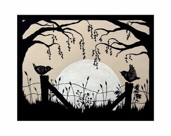 Harvest Moon - 8 X 10 inch Cut Paper Art Print