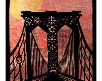Brooklyn Bridge - 8 x 10 Cut Paper Art Print