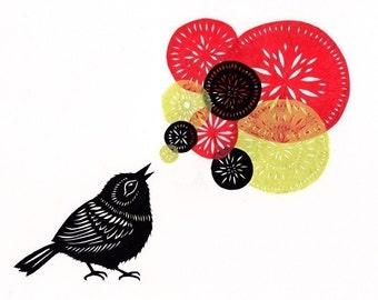 Little Bird Big Song - 5 X 7 inch Cut Paper Art Print