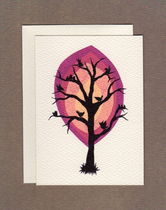 Bird's Tree - Small Greeting Card
