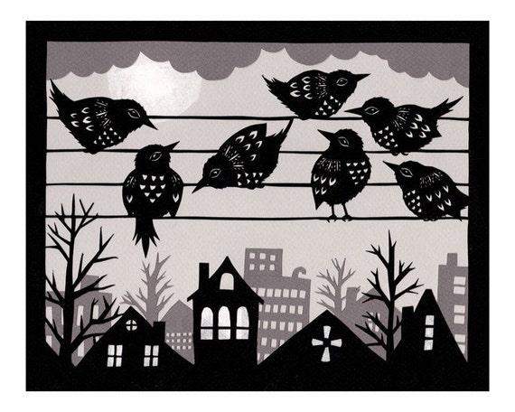 Party Line - 8 x 10 inch Cut Paper Art Print