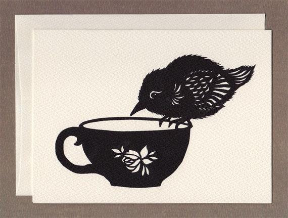Tea Cup Bird - Greeting Card