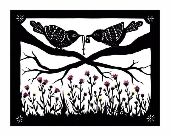 Above The Thistle Bush - 8 x 10 inch Cut Paper Art Print