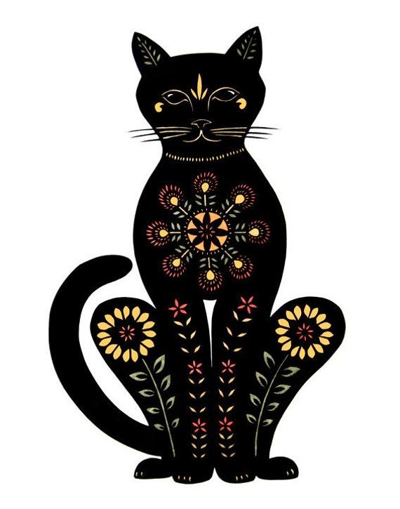 Cat -11 x 14 inch  Cut Paper Art Print