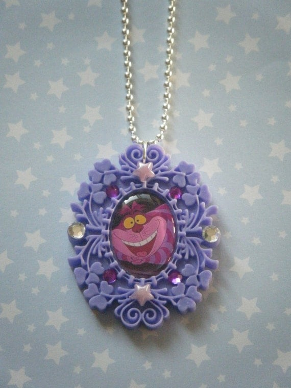 We're all mad here Cheshire Cat Alice in Wonderland embellished cameo pendant necklace