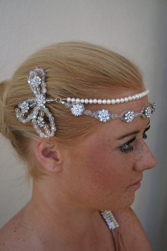 Great Gatsby 1920s Flapper Style Brow Tiara Bridal Wedding Headpiece with Crystals, Rhinestones and Freshwater Pearls
