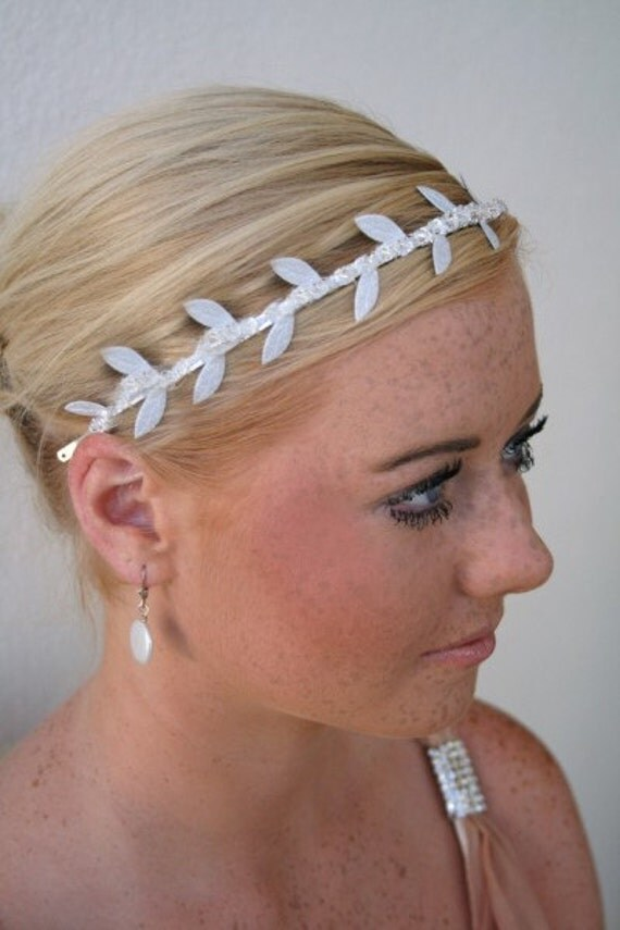 Silver Grecian Vine and Crystal Bridal Headband, Wedding Tiara