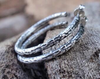 twig hoop earrings oxidized sterling silver hoop earrings post hoop earrings twig jewelry