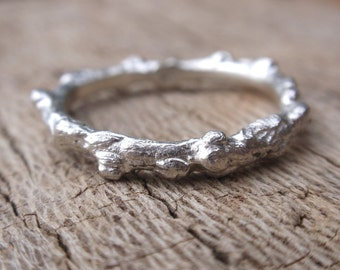 handmade sterling silver branch ring - twig jewelry - stacking ring - made to order
