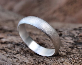 men wedding ring brushed finish wedding band for men or women sterling silver handmade rough brushed finish ring 5mm made to order