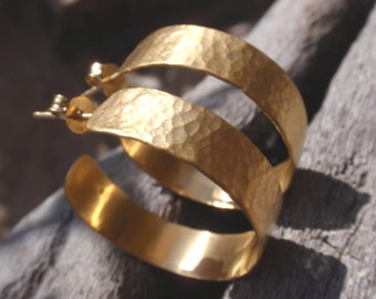 gold hammered hoops - 24k gold plated sterling silver hammered hoop earrings - handmade jewelry - post earrings
