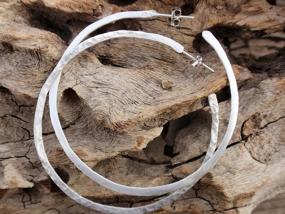 sterling silver large hammered hoops