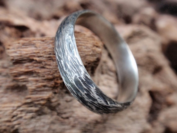 wedding band ring gift for men and women twig jewelry handmade in oxidized sterling silver - twig ring 5mm - mens jewelry - made to order
