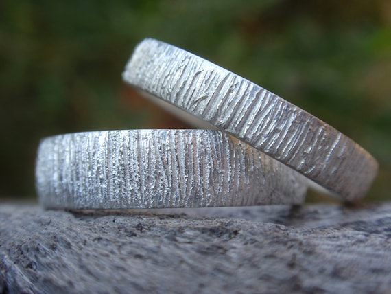unique tree bark wedding bands set of 2 wedding rings, sterling silver, wood grain texture, 5mm & 4mm, made to order, woodland wedding