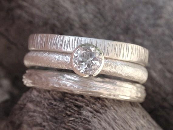 wedding ring set of 3 - engagement ring set wedding band set in sterling silver - 4mm natural white topaz gemstone - made to order
