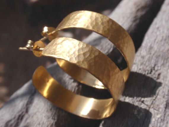 gold hammered hoops - 24k gold plated sterling silver hammered hoop earrings - handmade jewelry - post earrings